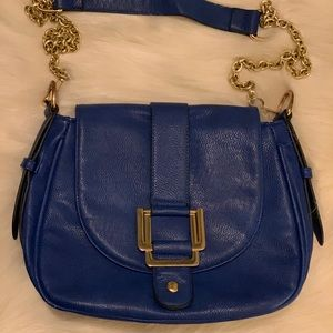 Handbags - Blue Crossbody Bag with Gold Buckle